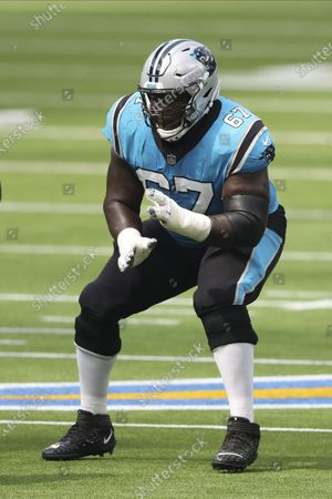 Carolina Panthers offensive guard John Miller (67) blocks during an NFL football game against the Los Angeles Chargers, in Inglewood, Calif