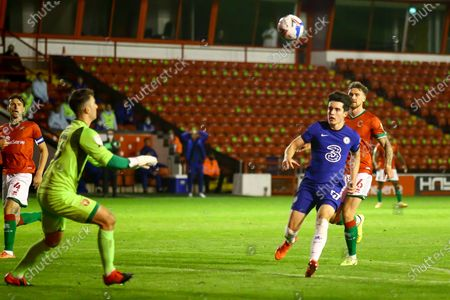 Stock Image of Jack Rose of Walsall (13) catches the ball from Valentino Livramento of Chelsea (57) during the EFL Trophy match between Walsall and U21 Chelsea at the Banks's Stadium, Walsall