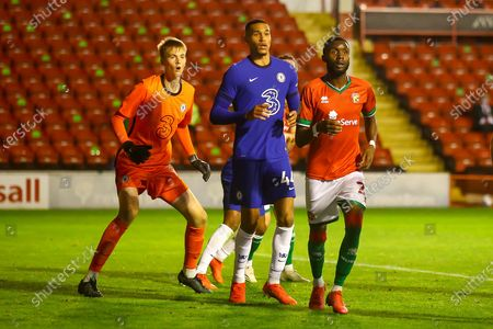 Lucas Bergstrom of Chelsea (71), Jonathan Russell of Chelsea (44) and Cameron Norman of Walsall (2) waiting for a corner kick during the EFL Trophy match between Walsall and U21 Chelsea at the Banks's Stadium, Walsall