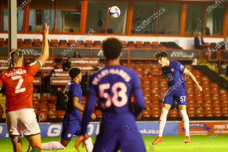 Valentino Livramento of Chelsea (57) heading the ball towards goal during the EFL Trophy match between Walsall and U21 Chelsea at the Banks's Stadium, Walsall
