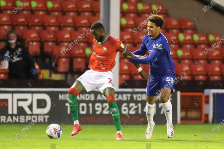 Cameron Norman of Walsall (2) battles with Myles Peart-Harris of Chelsea (58) during the EFL Trophy match between Walsall and U21 Chelsea at the Banks's Stadium, Walsall