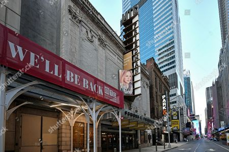 The Samuel J. Friedman Theatre at 261 West 47th Street, NY, NY, remains closed and dark. With a limited turn from January 4, 2020 to February 29, 2020, The Manhattan Theatre Club's 'My Name is Lucy Barton' starring Laura Linney, posters still adorn the theater.