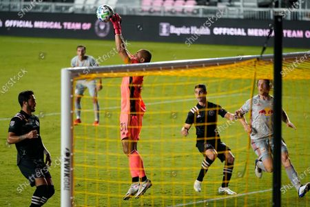 Stock Picture of Inter Miami goalkeeper Luis Robles (31) makes a save during the second half of an MLS soccer match against the New York Red Bulls, in Fort Lauderdale, Fla. The New York Red Bulls won 4-1