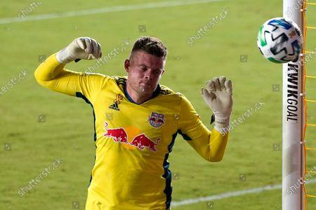 New York Red Bulls goalkeeper David Jensen defends the goal during the first half of an MLS soccer match against Inter Miami, in Fort Lauderdale, Fla