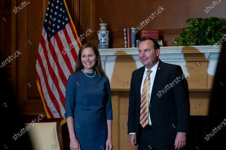 Judge Amy Coney Barrett, United States President Donald J. Trump's Supreme Court nominee, left, meets with United States Senator Mike Lee (Republican of Utah) at the U.S. Capitol on Tuesday, September 29, 2020 in Washington, D.C. Barrett will be meeting with Republican Senators on Capitol Hill throughout the week in preparation for her confirmation hearing, which is set to begin on October 12.