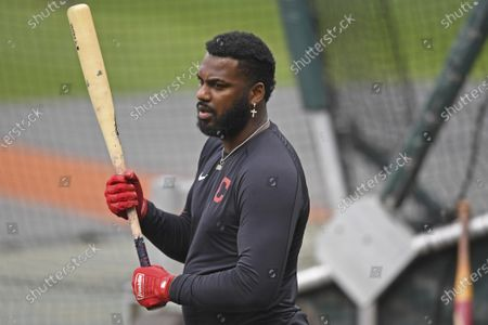 Cleveland Indians' Franmil Reyes prepares to enter the batting cage before Game 1 of an American League wild-card baseball series against the New York Yankees, in Cleveland