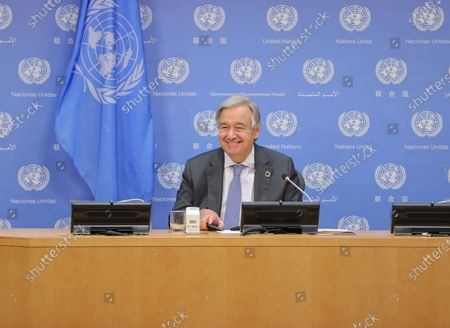 """Stock Image of  Secretary-General Antonio Guterres briefs reporters together with Justin Trudeau, Prime Minister of Canada, and Andrew Holness, Prime Minister of Jamaica (who both participated virtually). The press conference is on the outcome of the meeting on """"Financing the 2030 Agenda for Sustainable Development in the Era of COVID-19 and Beyond"""" today at the UN Headquarter"""