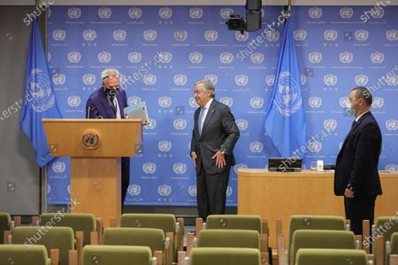"""Secretary-General Antonio Guterres briefs reporters together with Justin Trudeau, Prime Minister of Canada, and Andrew Holness, Prime Minister of Jamaica (who both participated virtually). The press conference is on the outcome of the meeting on """"Financing the 2030 Agenda for Sustainable Development in the Era of COVID-19 and Beyond"""" today at the UN Headquarter"""