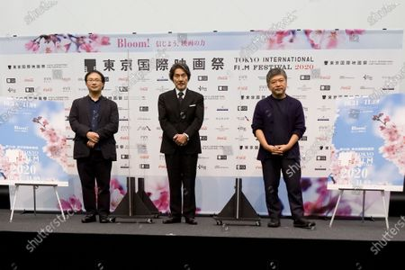 (l to r) Koji Fukada, Koji Yakusho, Hirokazu Kore-eda appear at the 33rd Tokyo International Film Festival 2020 Press Conference at Roppongi Hills Tower in Tokyo.