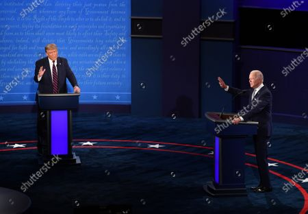 United States President Donald J. Trump and Democratic presidential nominee former United States Vice President Joe Biden face off in the first of three scheduled 90 minute presidential debates, in Cleveland, Ohio, on Tuesday, September 29, 2020.