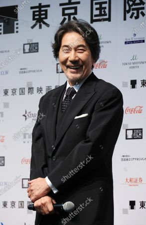 Japanese actor Koji Yakusho of the festival ambassador speaks at the line up presentation for the Tokyo International Film Festival 2020 in Tokyo on Tuesday, September 29, 2020. Tokyo International Film Festival 2020 will be held from October 31 through November 9.