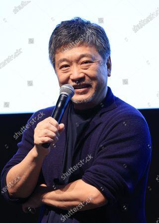 Japanese film director Hirokazu Koreeda speaks at the line up presentation for the Tokyo International Film Festival 2020 in Tokyo on Tuesday, September 29, 2020. Tokyo International Film Festival 2020 will be held from October 31 through November 9.