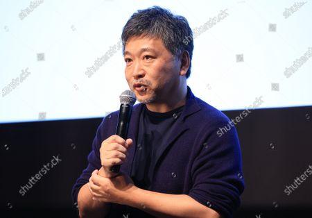 Stock Image of Japanese film director Hirokazu Koreeda speaks at the line up presentation for the Tokyo International Film Festival 2020 in Tokyo on Tuesday, September 29, 2020. Tokyo International Film Festival 2020 will be held from October 31 through November 9.