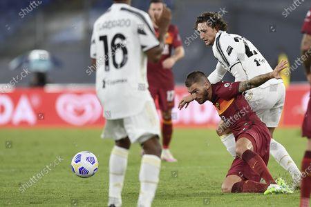 "Davide Santon (Roma) Adrien Rabiot  (Juventus)           during the Italian  Serie A"" match between  Roma 2-2 Juventus  at  Olimpic Stadium  on September 27 , 2020 in Roma, Italy."