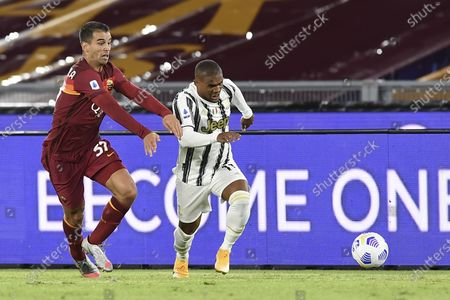 "Douglas Costa de Souza (Juventus) Leonardo Spinazzola (Roma)           during the Italian  Serie A"" match between  Roma 2-2 Juventus  at  Olimpic Stadium  on September 27 , 2020 in Roma, Italy."