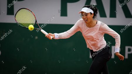Su-Wei Hsieh of Chinese Taipeh in action during the second round at the 2020 Roland Garros Grand Slam tennis tournament