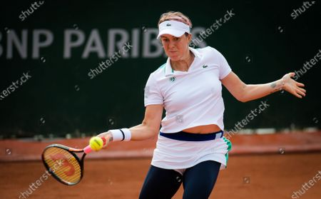 Anastasia Pavlyuchenkova of Russia in action during the second round at the 2020 Roland Garros Grand Slam tennis tournament