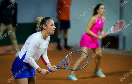 Pauline Parmentier of France playing her last career match with Alize Cornet at the 2020 Roland Garros Grand Slam tennis tournament