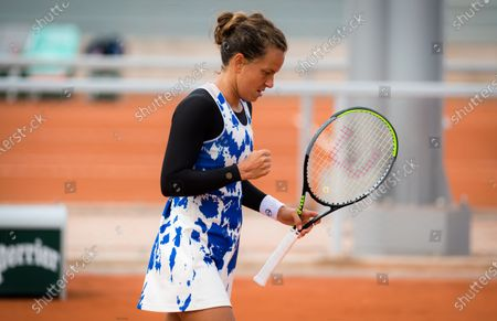 Barbora Strycova of the Czech Republic in action during the second round at the 2020 Roland Garros Grand Slam tennis tournament
