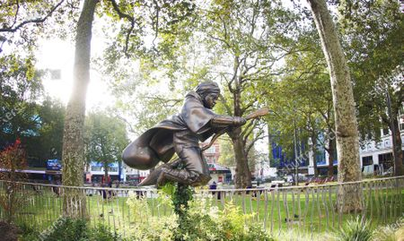 A statue of Harry Potter is unveiled by Alex Zane in Leicester Square, joining Scenes in the Square, an illustrious trail of timeless movie characters and classic scenes from the past 100 years in London's home of film. The dynamic statue depicts Potter flying on his Nimbus 2000 in his debut Quidditch match from 'Harry Potter and the Philosopher's Stone' and is a free to visit attraction that will remain in London's home of film until at least summer 2023.