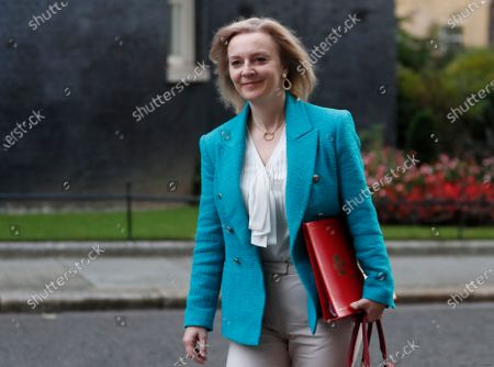 Elizabeth Truss, Secretary of State for International Trade and President of the Board of Trade, arrives in Downing Street for a cabinet meeting, which is held in the Foreign Office which allows room for social distancing due to the pandemic, in London