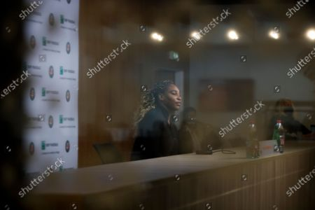 Serena Williams of the U.S., announces her withdrawal from the tournament because of an Achilles injury during a video link press conference prior to her second round match of the French Open tennis tournament at the Roland Garros stadium in Paris, France