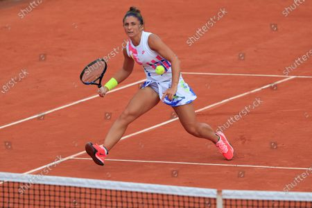 Italy's Sara Errani plays a shot against Netherlands' Kiki Bertens in the second round match of the French Open tennis tournament at the Roland Garros stadium in Paris, France