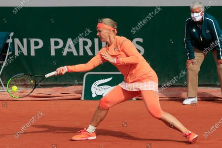 Netherlands' Kiki Bertens plays a shot against Italy's Sara Errani in the second round match of the French Open tennis tournament at the Roland Garros stadium in Paris, France