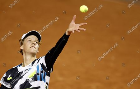 Jannik Sinner of Italy serves during his second round match against Benjamin Bonzi of France at the French Open tennis tournament at Roland Garros in Paris, France, 30 September 2020.