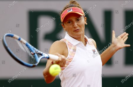 Irina-Camelia Begu of Romania in action against Simona Halep of Romania during their women's second round match during the French Open tennis tournament at Roland Garros in Paris, France, 30 September 2020.
