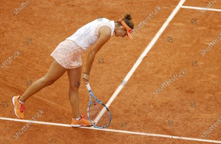 Irina-Camelia Begu of Romania during her second round match against Simona Halep of Romania at the French Open tennis tournament at Roland Garros in Paris, France, 30 September 2020.