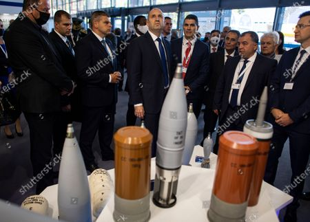 Bulgarian President Rumen Radev (C) at the International Defence equipment exhibition 'HEMUS 2020' in Plovdiv some 120 km away from Sofia, Bulgaria on 30 September 2020. USA and countries from Europe and Asia take part in the exhibition.