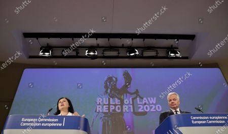 European Commissioner for Values and Transparency Vera Jourova and European Commissioner for Justice Didier Reynders (R) give a press conferenceon the 2020 Annual Rule of Law Report 2020 in Brussels, Belgium, 30 September 2020.