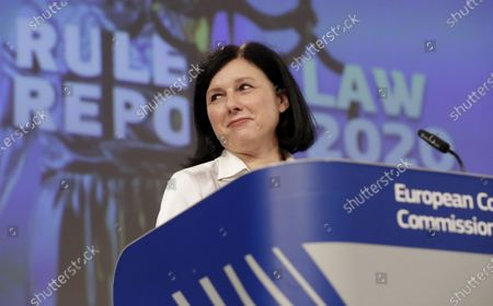 European Commissioner for Values and Transparency Vera Jourova speaks during a media conference on the Rule of Law Report 2020 at EU headquarters in Brussels