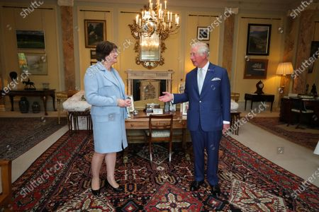 First Minister Arlene Foster pictured meeting with Prince Charles at Hillsborough Castle this afternoon.