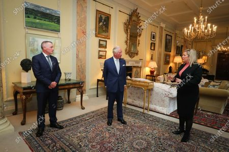 Stock Photo of Deputy First Minister Michelle O'Neill and Junior Minister Declan Kearney pictured meeting with Prince Charles at Hillsborough Castle this afternoon.