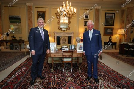 Secretary of State for Northern Ireland Brandon Lewis pictured meeting with Prince Charles at Hillsborough Castle this afternoon.