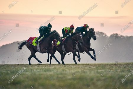 Frankie Detorri (right) rides out with his daughter Ella (centre) for the first time doing a piece of work for trainer Charlie Fellowes alongside Hayley Turner on the Newmarket Limekilns four days before his historic attempt to win the Prix de l'Arc de Triomphe on Enable for the third time. 30th September, 2020, Newmarket