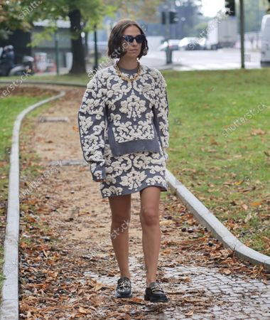 Erika Boldrin street style outfit before SPORTMAX fashion show, during Milano fashion week Fall/Winter 2020