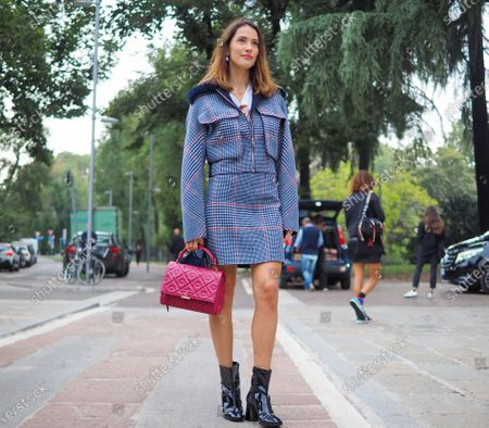 Stock Photo of Ludovica Sauer street style outfit before SPORTMAX fashion show during Milano fashion week Fall/Winter 2020