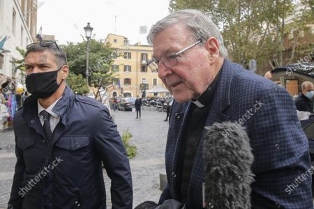 Australian Cardinal George Pell (R) arrives at his residence in Rome, Italy, 30 September 2020. Cardinal George Pell was released from prison after being cleared of pedophilia charges. Cardinal Pell was once regarded as the third highest-ranking Vatican official before he returned to Australia in 2017 to clear himself of decades-old allegations of child sex abuse.