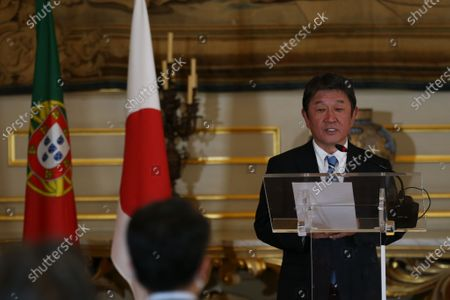 Japan's Foreign Minister Toshimitsu Motegi speaks during the joint press conference with Portuguese Foreign Minister Augusto Santos Silva (not pictured) after their meeting at Necessidades Palace in Lisbon, Portugal, 30 September 2020.