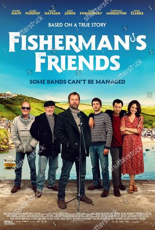 Stock Photo of Fisherman's Friends (2019) Poster Art. David Hayman as Jago, Dave Johns as Leadville, James Purefoy as Jim, Sam Swainsbury as Rowan, Daniel Mays as Danny and Tuppence Middleton as Alwyn