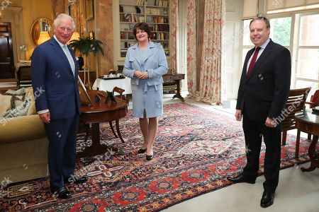 First Minister Arlene Foster and Lord Dodds pictured meeting with Prince Charles at Hillsborough Castle this afternoon.