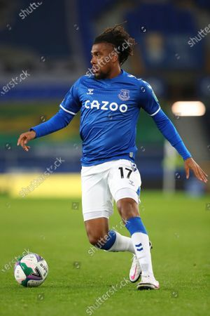 Stock Photo of Everton's Alex Iwobi in action during the English League Cup round of 16 soccer match between Everton and West Ham at the Goodison Park stadium in Liverpool, England