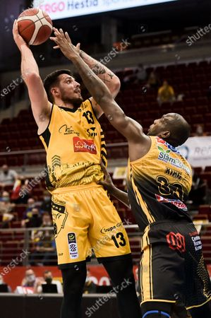 Stock Picture of Dominik Olejniczak of Trefl (L) and Shawn King of Slam Stal (R) are seen in action during the Energa Basket League match between Trefl Sopot and Arged BM Slam Stal Gorzow Wielkopolski. (Final score; Trefl Sopot 82:66 Arged BM Slam Stal Gorzow Wielkopolski)
