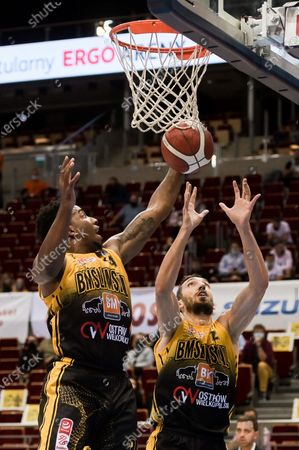 Shawn King and Jaroslaw Mokros of Slam Stal are seen in action during the Energa Basket League match between Trefl Sopot and Arged BM Slam Stal Gorzow Wielkopolski. (Final score; Trefl Sopot 82:66 Arged BM Slam Stal Gorzow Wielkopolski)