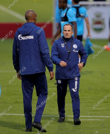 Stock Picture of Manuel Baum (R), newly appointed head coach of German Bundesliga side FC Schalke 04, and assistant coach Naldo (L) lead their team's training session at the training ground in Gelsenkirchen, Germany, 30 September 2020. Manuel Baum was previously coach of the German U18 national team, and has been approved for his new position by the German Football Association (DFB). The position of the assistant coach will be taken over by former Brazilian international and former Bundesliga player Naldo.