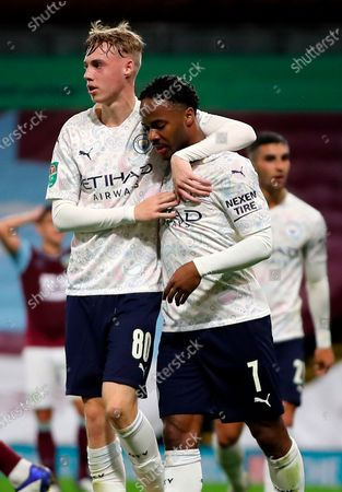 Stock Image of Manchester City's Raheem Sterling (R) celebrates with teammate Carl Palmer (L) after scoring the 1-0 lead during the English Carabao Cup 4th round soccer match between Burnley FC and Manchester City in Burnley, Britain, 30 September 2020.