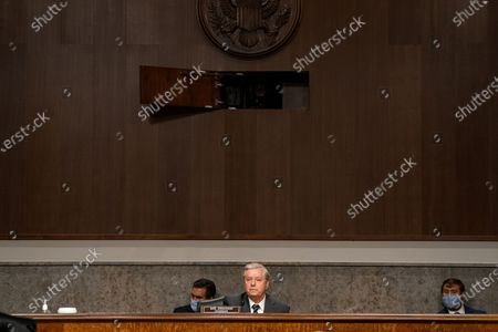 United States Senator Lindsey Graham (Republican of South Carolina), Chairman, US Senate Judiciary Committee asks questions of James Comey, Former Director Of The Federal Bureau Of Investigation before the Senate Judiciary Committee during an oversight hearing to examine the Crossfire Hurricane Investigation in Washington DC., on Wednesday, September 30, 2020.